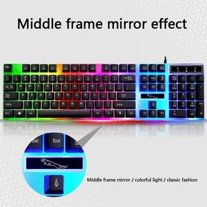 Image 5 - السلكية USB ضوء الماوس ولوحة المفاتيح تعيين الكمبيوتر الميكانيكية يشعر الخلفية لوحة المفاتيح