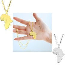 Hiphop Map of Africa Necklaces Pendants Gold Silver Globe World Map African Maps Pendant Necklace Women Men Earth Jewelry Colar panama pendant necklace for women men 18k yellow gold plated jewelry map of panama necklaces 005105