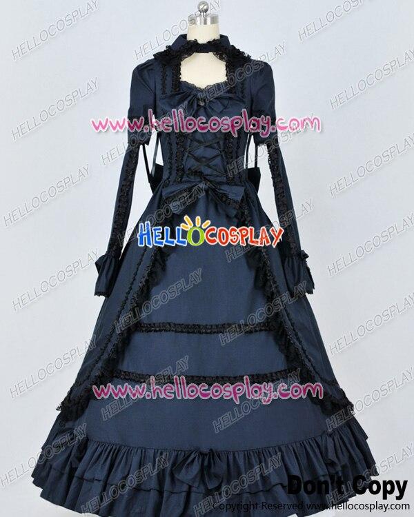 Renaissance gothique coton noir bleu foncé robe de bal robe Lolita H008