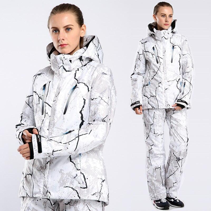 Impression d'hiver Femelle Femmes combinaison de Ski Veste et Pantalon de Cyclisme Randonnée Costume Snowboard Vêtements Chaud Doux Femmes combinaison de Ski