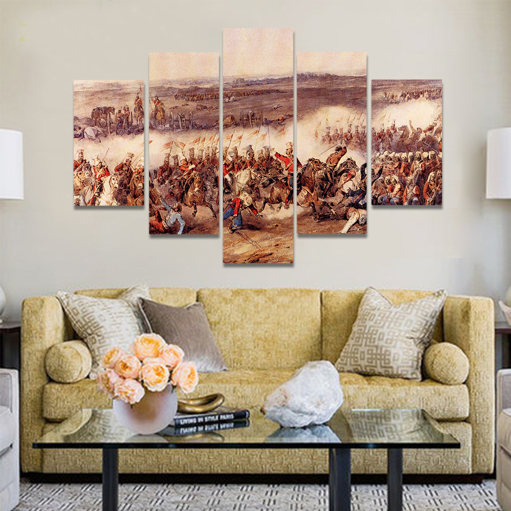 Unframed Canvas Oil Painting War Horse Riding Charger Knight Infantry Prints Wall Pictures For Living Room Wall Art Decoration