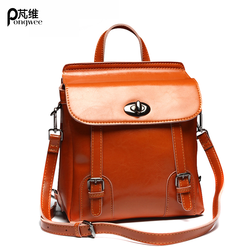 PONGWEE Fashion England Style School Backpack Brand Designer Real Skin Women Bag Cowhide Vintage Genuine Leather Backpack