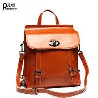 PONGWEE Fashion England Style School Backpack Brand Designer Real Skin Women Bag Cowhide Vintage Genuine Leather