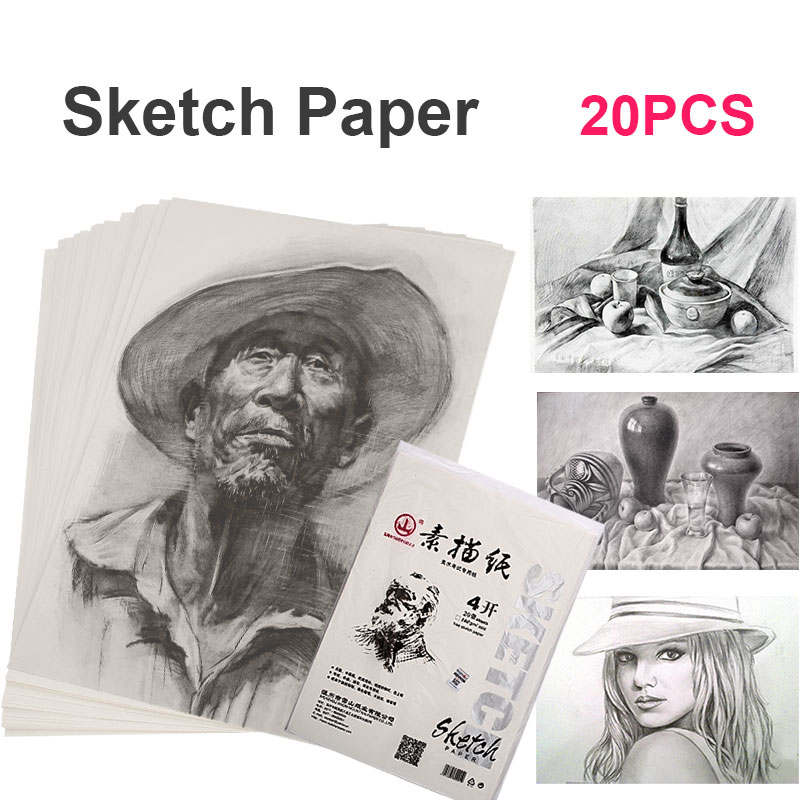 Sketch Pad 20pcs/Bags Sketch Book Lettering Sketch Paper Drawing Paper 4K 160g Wood Color Office School Supplies Gift
