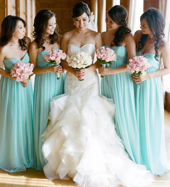 Vestidos de festa New Long   Bridesmaid     Dresses   2017 Sweetheart Neck Off the Shoulder A-Line Chiffon Simple Party   Dresses
