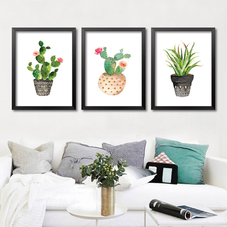 Green Plants Cactus Modular Pictures Art Prints Poster