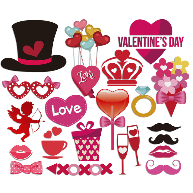 40pcs Set Valentine S Day Party Photo Booth Props