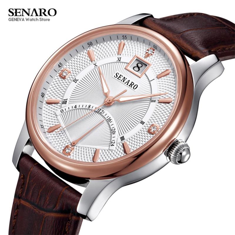 SENARO women watch quartz wristwatch 316L stainless steel case cowhide genuine leather strap rose golden ladies watches S56 стоимость