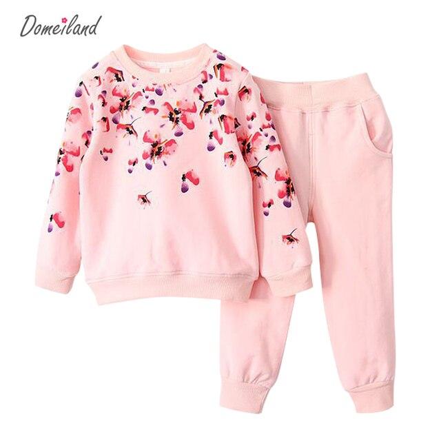 2017 марка дети Принцесса бутик костюмы одежда наборы для детей девушки цветок хлопка принцесса свитер брюки костюм одежда