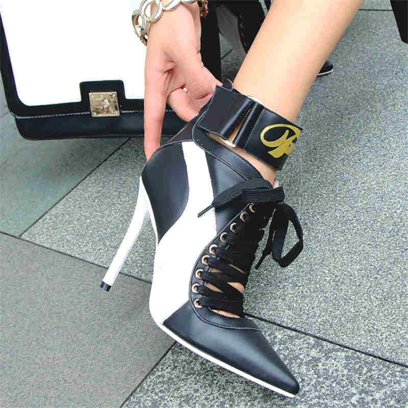 Sexy High Thin Heel Mixed Color Pointed Toe Cool Women Boots Front Lace Up Shoe Luxury Brand Runway Street New Arrival Star Shoe miquinha round toe women boots mixed color short booties luxury brand women cool runway fashion star high heel boots buckle shoe