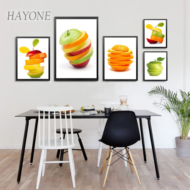 Modern Fresh Fruits Apples Oranges Canvas Art Print PosterWall Decor Pictures For Bubble Tea