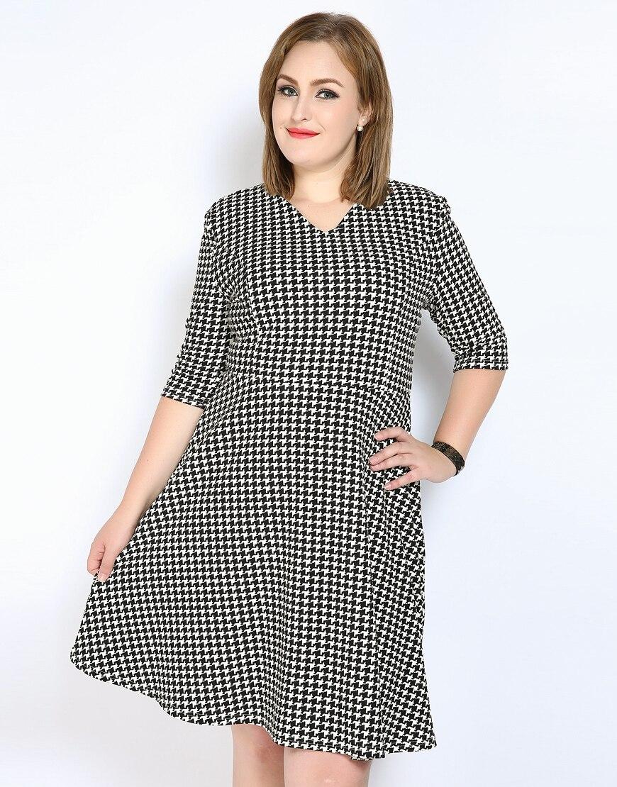 Cute Ann Womens Sexy V Neck Plus Size Houndstooth Dress Three
