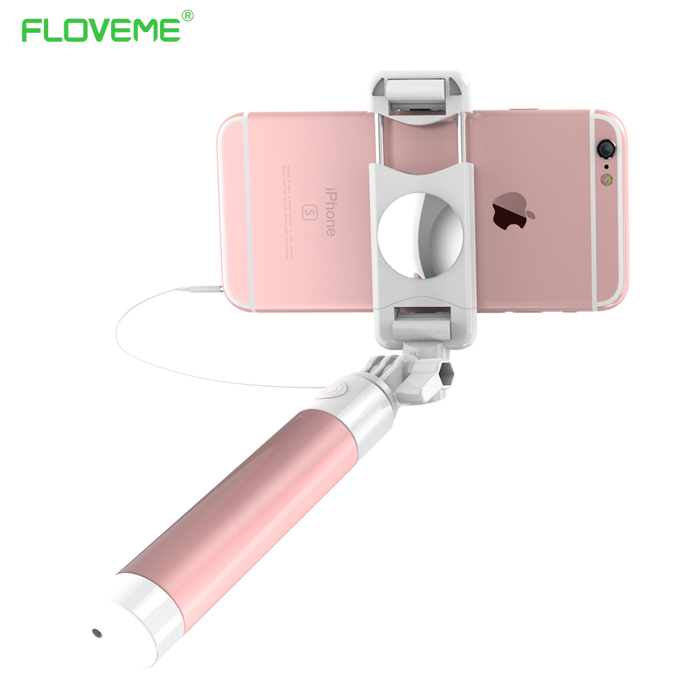 FLOVEME Mini Selfie Stick With Button Wired Silicone Handle Monopod Un