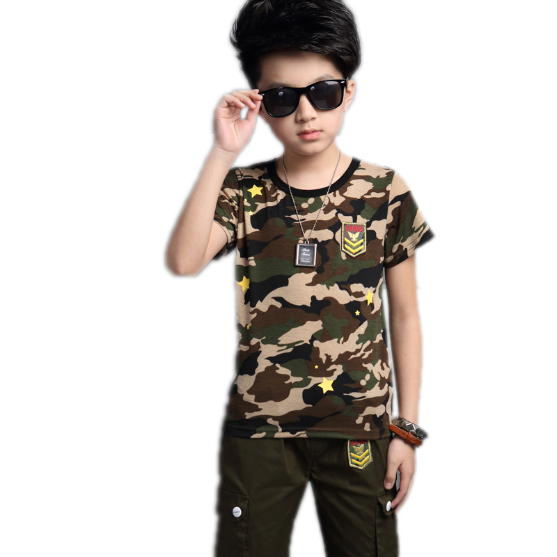 Buy Kids Summer Clothes 2017 New Boy Suits Military Children's Camouflage Set Short-sleeved T-shirt+Pants Military Costume For Boy
