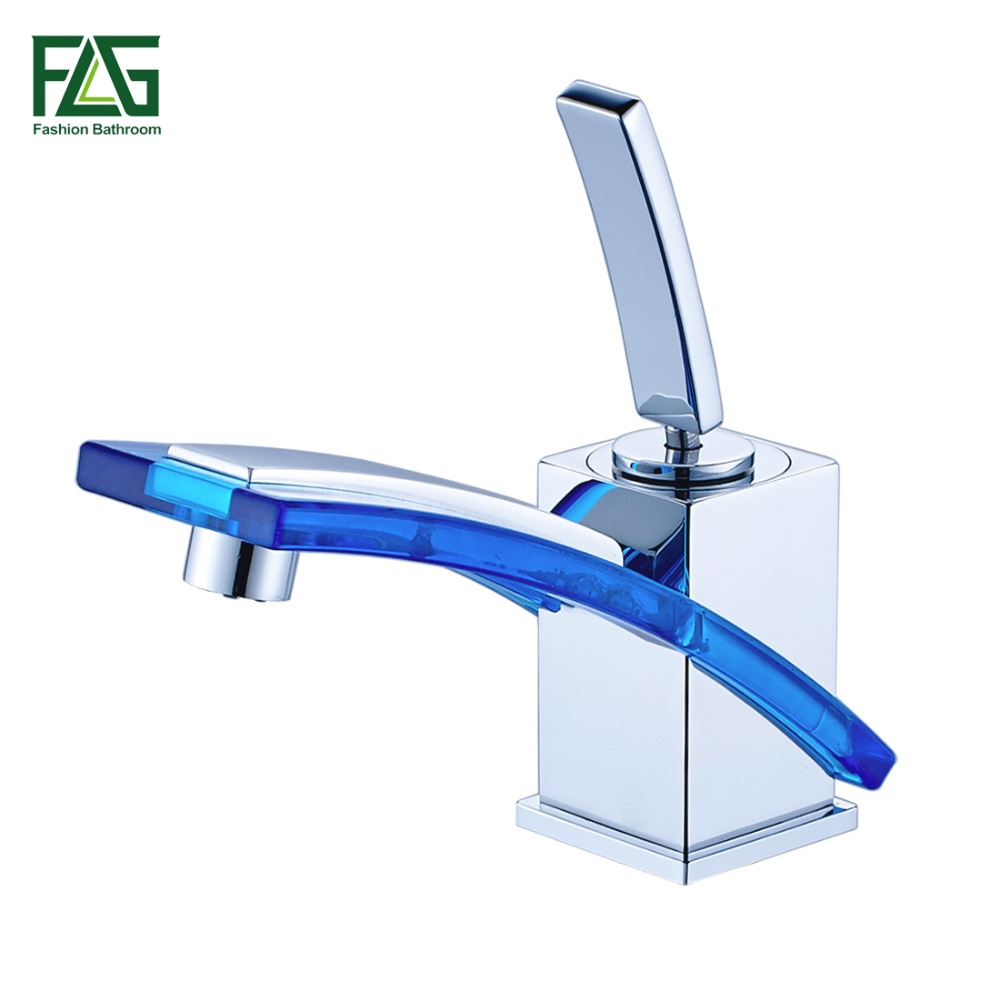 FLG Wholesale And Retail Free Shipping Long Spout Bathroom Basin Faucet Cold Hot Chrome Brass Glass Vanity Sink Mixer Tap 249-11 us free shipping wholesale and retail chrome finish bathrom sink basin faucet mixer tap dusl handle three holes wall mounted
