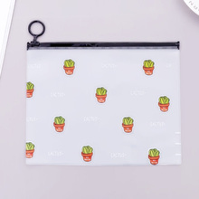 2018 New Arrival Hot Cactus Transparent PVC A5 File Folder Document Filing Bag Stationery Bag for student kids pencil case box