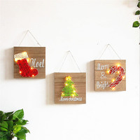 Christmas Decorations LED Lights Wood Paint Wall Decoration Shop Wall Ornament Creative Home Children Room Decorative LED Lights