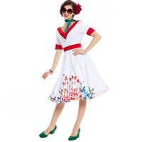 Sisjuly 1950s 60s Vintage Dresses Summer Knee Length Women White Sashes Party Dress 2017 Pin Up
