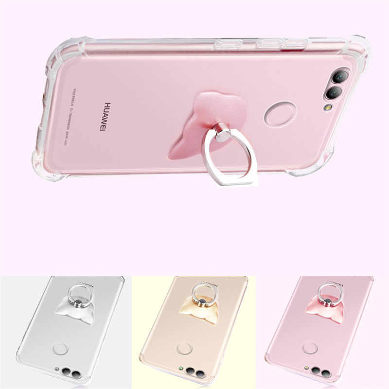 3D Cat Ring Luxury Shockproof Case For Huawei Y5 Y6 II P8 P9 P10 P20 P30 Pro Plus Honor 5X 7A 7C 8 8A 8C 9 9i 10 Lite Cover Caqa