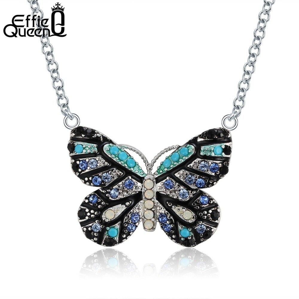 Effie Reine Bleu À La Mode Papillon Pendentif Colliers En Cristal De Mode Bijoux Cubique Zircone Chaîne Collier Pour Les Femmes Cadeau DN136