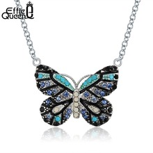 Effie Queen Trendy Blue Butterfly Pendant Necklaces Crystal Fashion Jewelry Cubic Zirconia Chain Necklace For Women Gift DN136