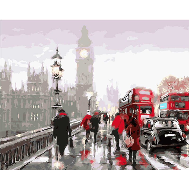 Oil painting by numbers abstract coloring paint by number decorative acrylic printed canvas painting calligraphy London street
