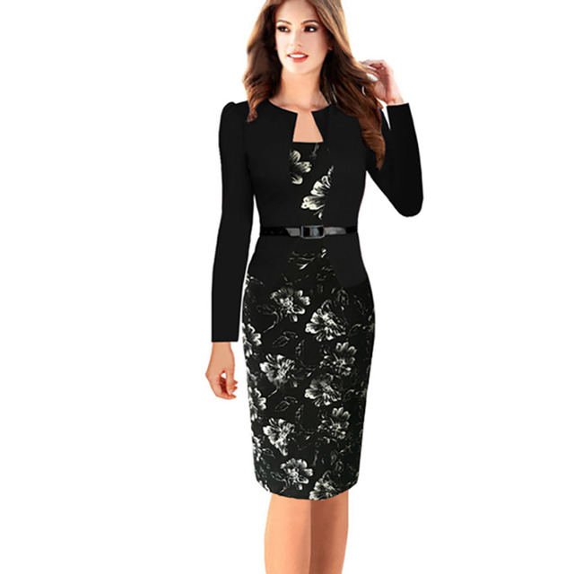 Para mujer elegante faux de twinset con cinturón mezcla de algodón estampado floral patchwork usar para trabajar negocios lápiz vaina bodycon dress