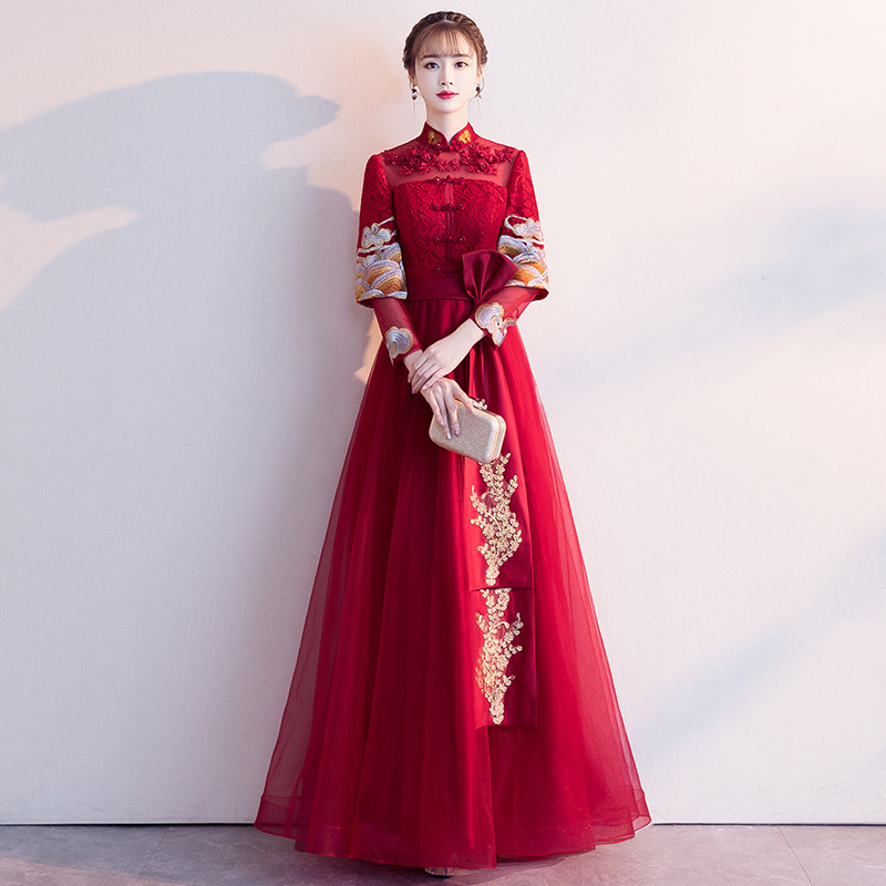 2019 New High Waist Long Embroidery Chinese Style Long Sleeve Cheongsam Dress2019 New High Waist Long Embroidery Chinese Style Long Sleeve Cheongsam Dress