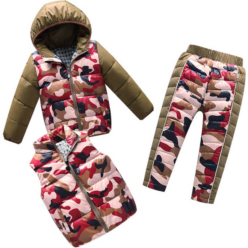 2018 Children Down Clothing Sets 3 PCS Coat + Trousers + Vest Winter Kids Down Suits Boys & Girls Camouflage Outerwear suit туалетная вода 75 мл gucci туалетная вода 75 мл