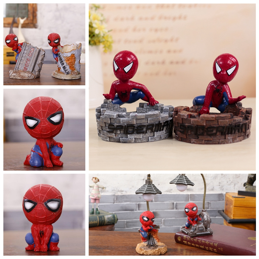 Figures Pen-Holder Spiderman-Lights Office-Desk-Toy Resin Cartoon Cute for New-Year Gifts