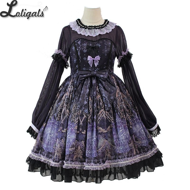Snow Night Ballet ~ Sweet Long Sleeve Lolita Dress Printed Party Dress by Alice Girl ~ Pre order