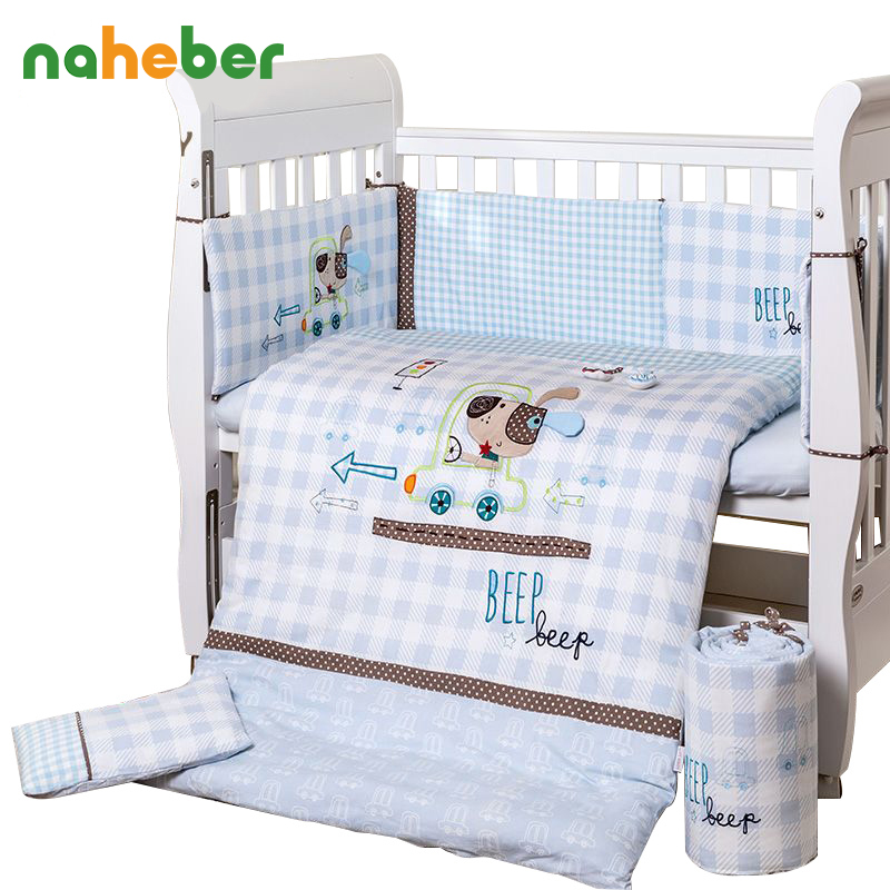 7Pcs Set Cotton Baby Bedding Set Cartoon Beep Crib Bedding Detachable Cot Quilt/Duvet Pillow Bumpers Sheet 4 Size  Newborn Gift