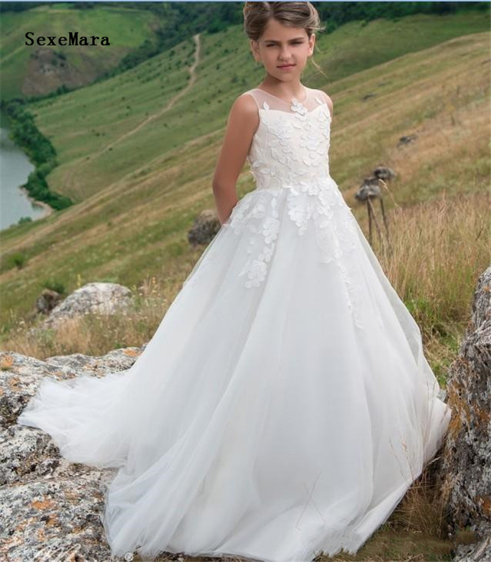 Pure White Holy First Communion Gowns For Princess Sheer Neck Buttons Appliques Custom Made   Flower     Girl     Dress   For Wedding Longo