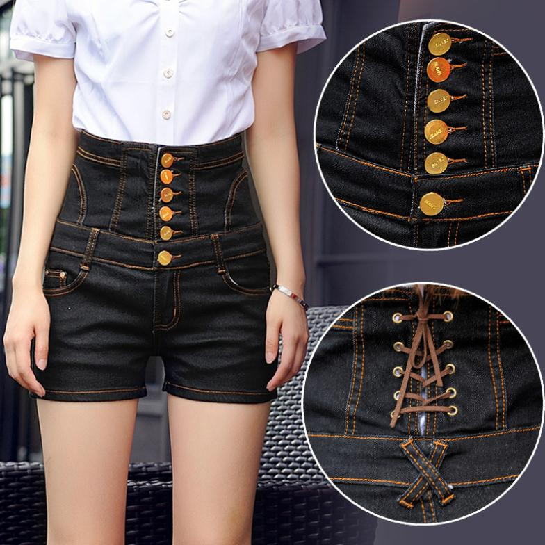 Online Shop Extra large European wind button high waist denim ...