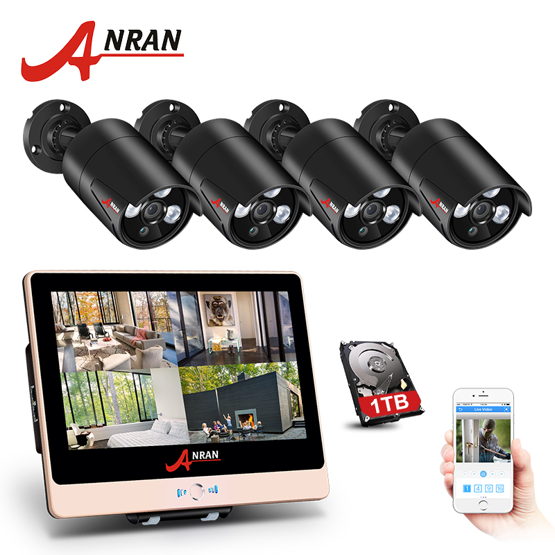 ANRAN P2P 1080P HDMI 4CH POE NVR 12 Inch LCD Screen Array IR Outdoor Security IP Camera Home POE CCTV System With Hard Disk