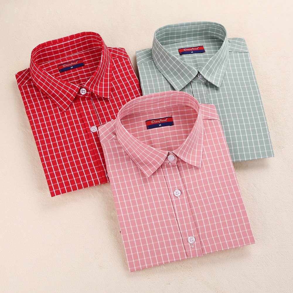 Online buy wholesale tartan shirts from china tartan Womens red tartan plaid shirt