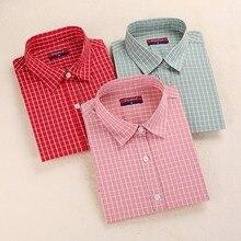 Brand Women s Plaid Blouse Cotton Women Long Sleeve Tops Ladies Red Plaid Shirt Female Tartan