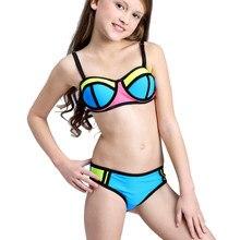 a86fc673 Traje de baño Patchwork niñas Bikini niños 2018 traje de baño para niñas  adolescentes niños Bikini conjunto ropa de playa Bebé n.