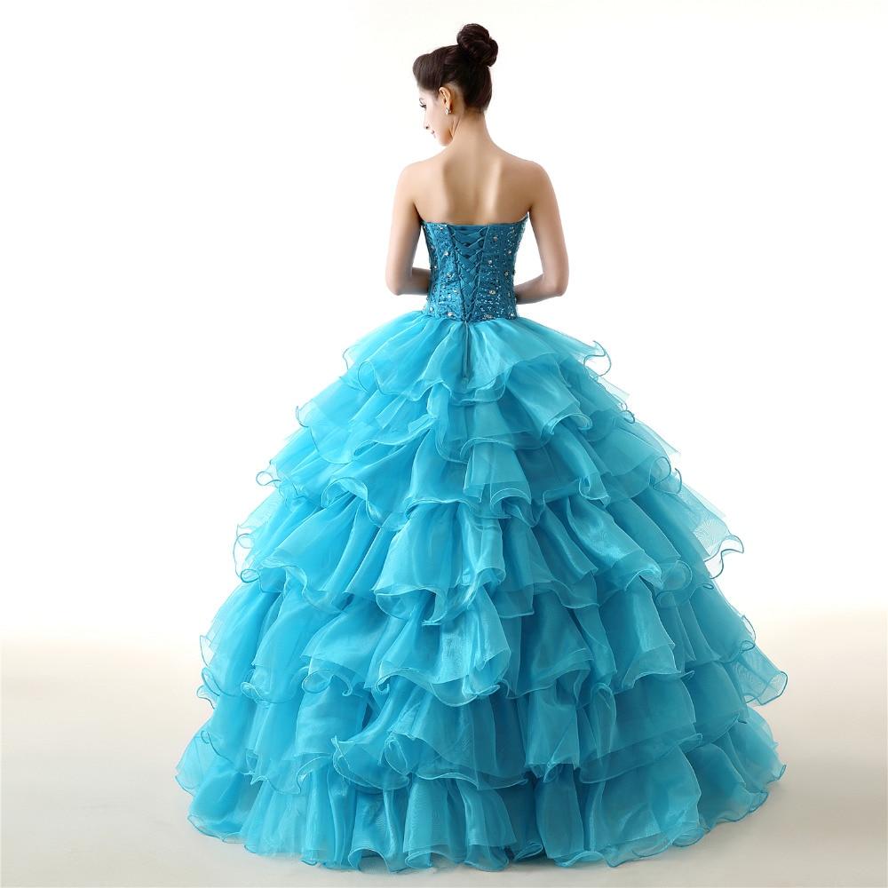 GSBRIDAL Blue Off the Shoulder Sweetheart Ruffle Skirt Beading Prom Dress