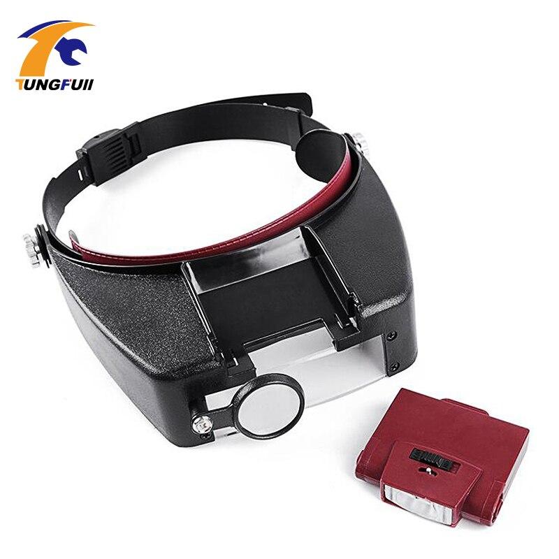Loupe Microscope LED lumière 10X Casque Style Loupe Verre Bandeau Loupe Lunettes Lupas Con Luz Lecture ou De Réparation Utiliser