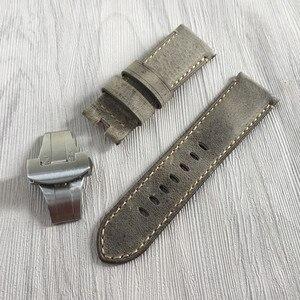 Image 4 - 24mm artesanal costurado couro de bezerro genuíno pulseira de relógio para implantação fivela pulseira para pam enviar também