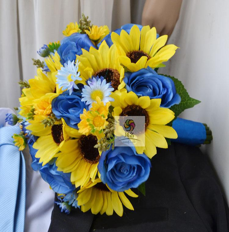 High Simulation Sunflower+Daisy Bridal Bouquet/bridesmaids