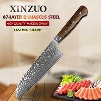 מותג חדש 7 inch XINZUO Santoku סכין 67 שכבות דמשק חלד פלדה מחושלת סכיני שף יפני סגנון עם ידית rosewood