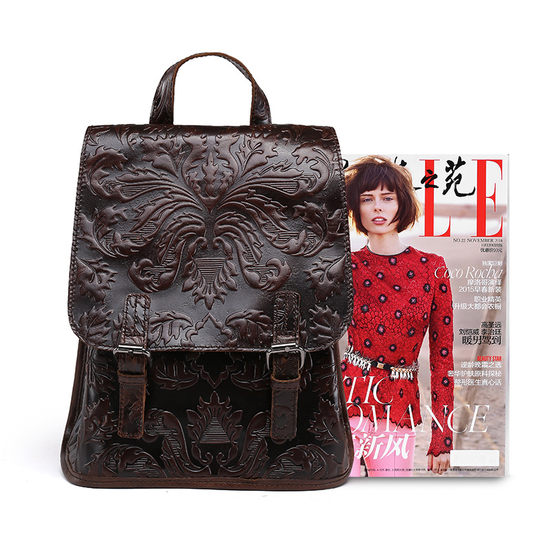Vintage Style Fashion Women's Genuine Leather Backpack Small Mini Shoulder Sling Bag LS9005 2017 small fresh mini shoulder bag with three pairs of ears can replace the small backpack cute modeling trend backpack y088