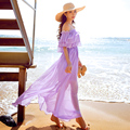 Original 2016 Brand Vestido De Festa Summer Plus Size Elegant Sexy Slash Neck Light Purple Maxi Beach Dress Long Women Wholesale