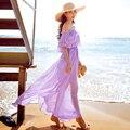 Original de la Marca 2016 Vestido De Festa Verano Más El Tamaño Elegante cuello de slash sexy luz púrpura maxi beach dress larga de las mujeres venta al por mayor