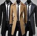 Novo e elegante casaco Men jaqueta de inverno Double Breasted sobretudo preto / Camel / cinza, Tamanho : M-XXXL frete grátis