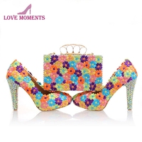 Beautiful Lace Flower Bridesmaid Shoes with Clutch Bag Multicolor Lace Lady High Heels Rhinestone Ceremony Prom Pumps with Purse
