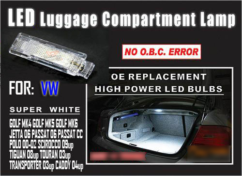 1pcs White Error Free Led Luggage Trunk Boot Light Bulbs