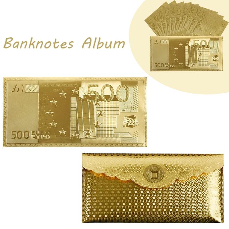 Dropshipping 2018 Wr Gold Euro Uae 500 Banknote Album For Banknotes Envelope Usa 100 World Banknotes Frame Holder Collection